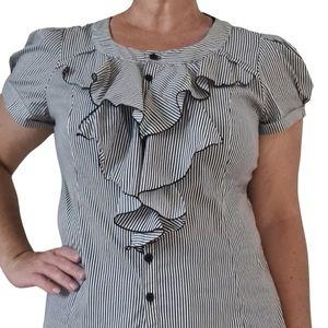 Cue Mono Striped Ruffle Shirt Size 14